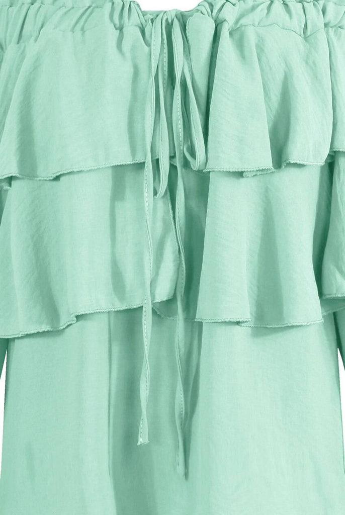 Off the Shoulder Knotted Tier Blouse Mint-Top-Mermaid Cove