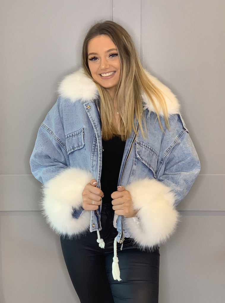 ALANNA Denim Oversized White Faux Fur Cuff & Collar Jacket-Jacket-Mermaid Cove
