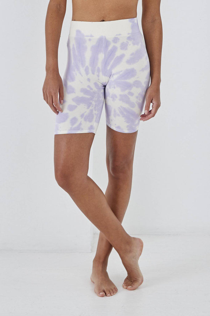 SUNDAE TEE STEPHANIE TIE DYE CYCLING SHORTS LILAC-Leggings-Mermaid Cove