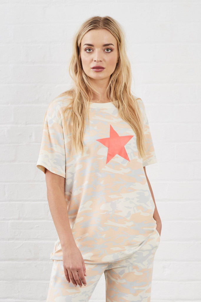 CHARLIE STAR CAMO PRINT SUNDAE TEE TOP-Loungewear-Mermaid Cove