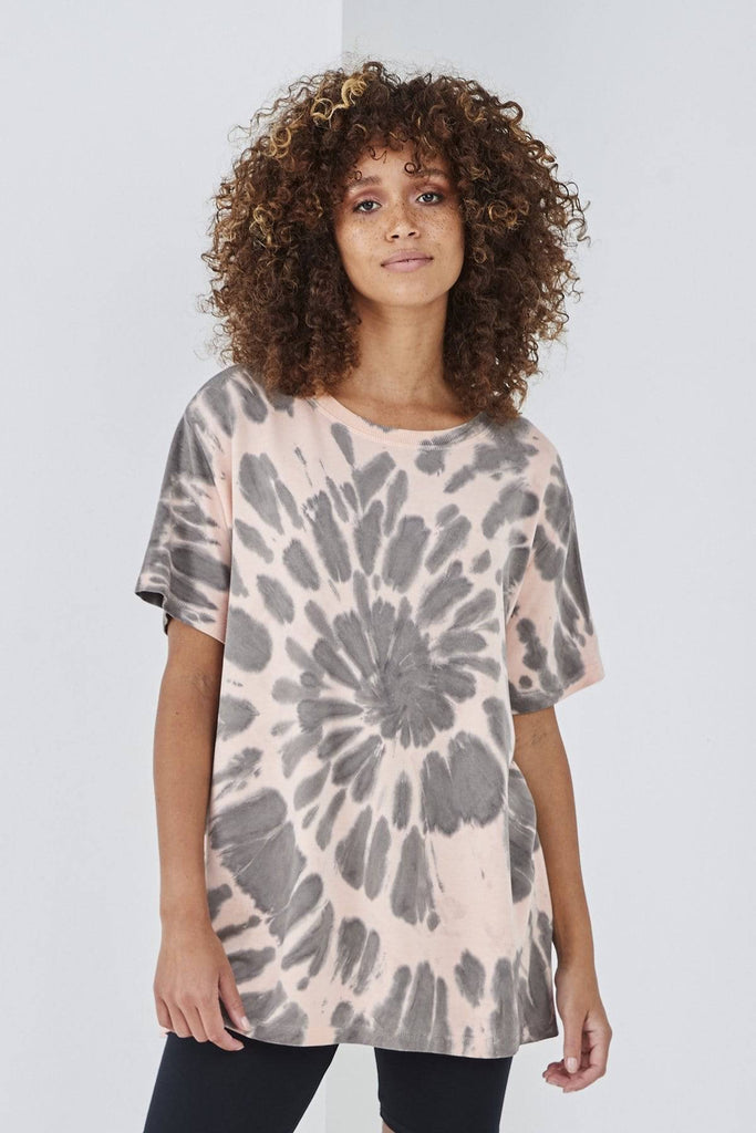 SUNDAE TEE SOPHIA TIE DYE TEE PEACH-Top-Mermaid Cove