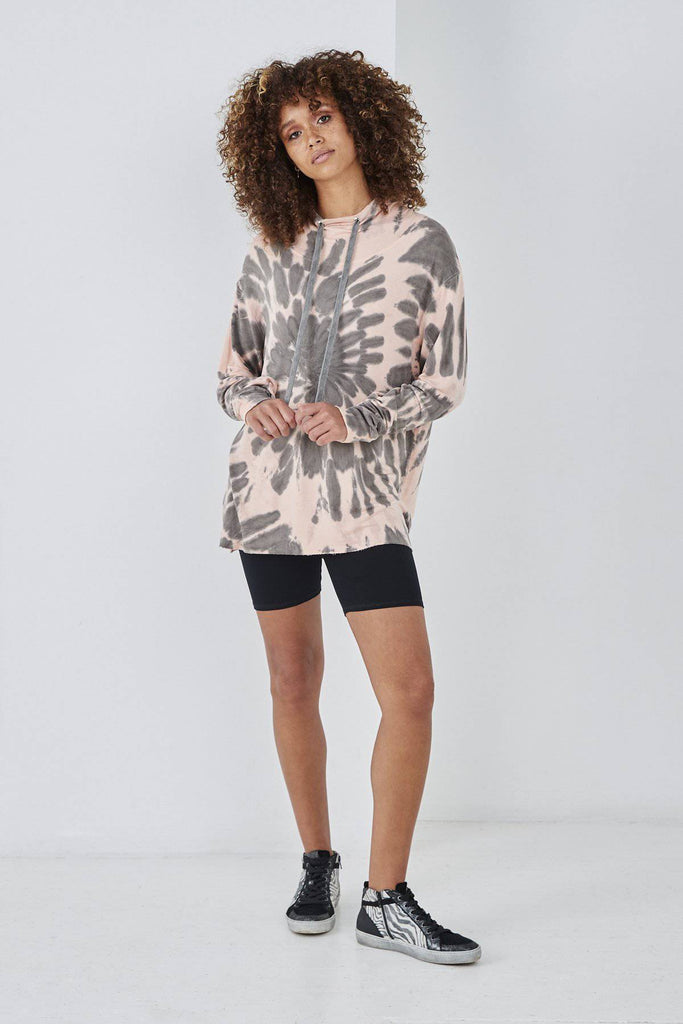 SUNDAE TEE STELLA TIE DYE HOODIE PEACH-Top-Mermaid Cove