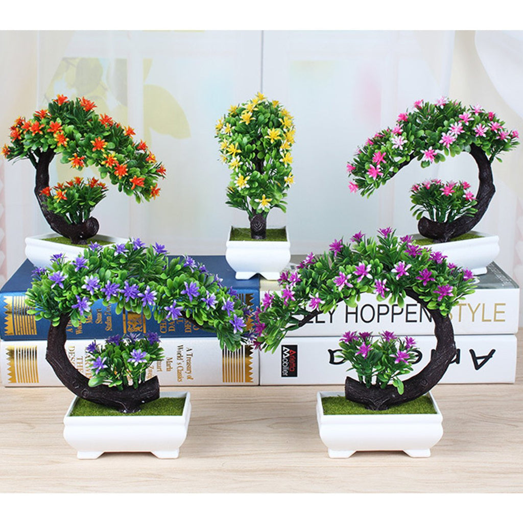Creative Bonsai Tree in Square Pot Artificial Plant Decoration for Office/Home