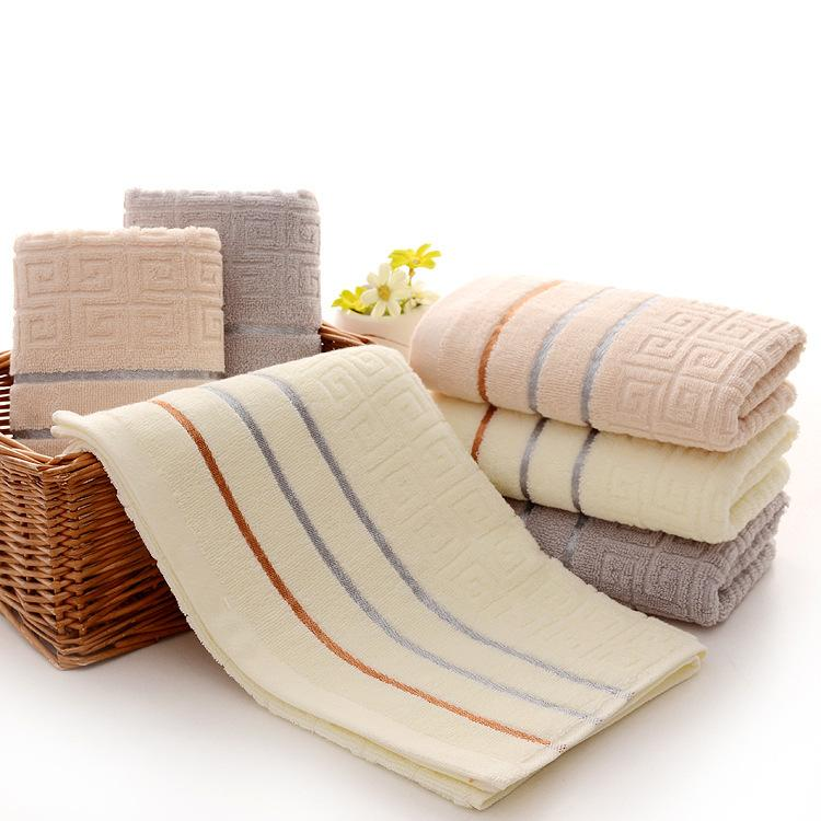 34x75cm Cotton Satin Striped Absorbent Towel Antibacterial Deodorizing Face Cloth Shower Wash