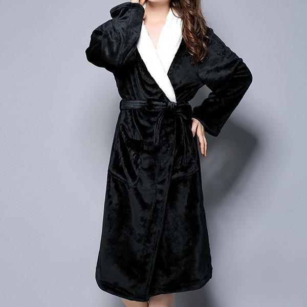 Woman/Men Extra Long Flannel Bathrobe Sleepwear