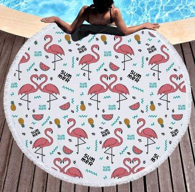 Flamingo Pattern Round Beach Towel Tapestry Shawl With Tassels