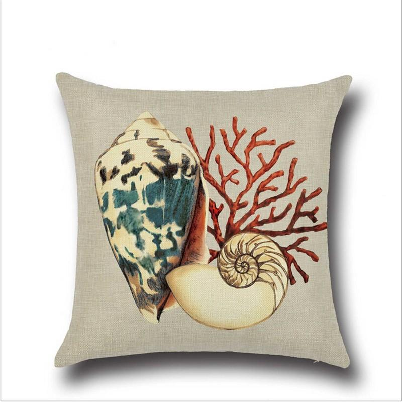 Conch Ocean Theme Print Pillow Case Car Home Sofa Bed Decor