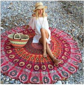 Bohemian Style Thin Chiffon BeachTowel Mandala Round Sheet Tapestry Tablecloth