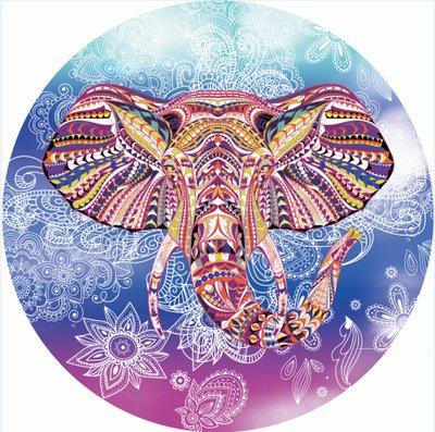 Indian Mandala Style Elephant Pattern Round Beach Towel Tapestry Shawl