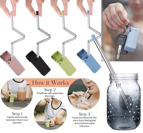 Folding Reusable Stainless Steel Drinking Straw Cleaning Rod Kits