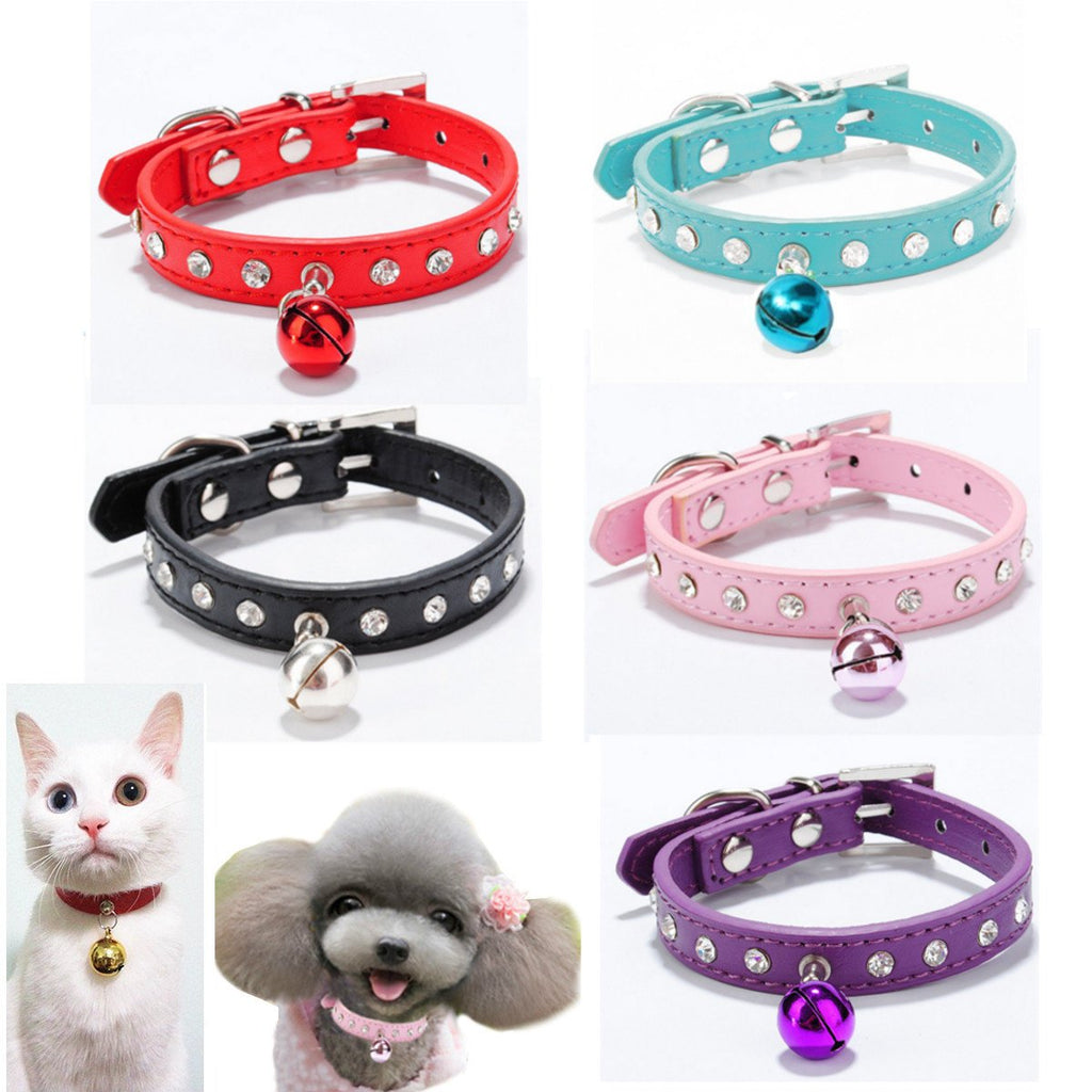 Pet Dog Cat Rhinestone PU Leather Collar with Safety Buckle