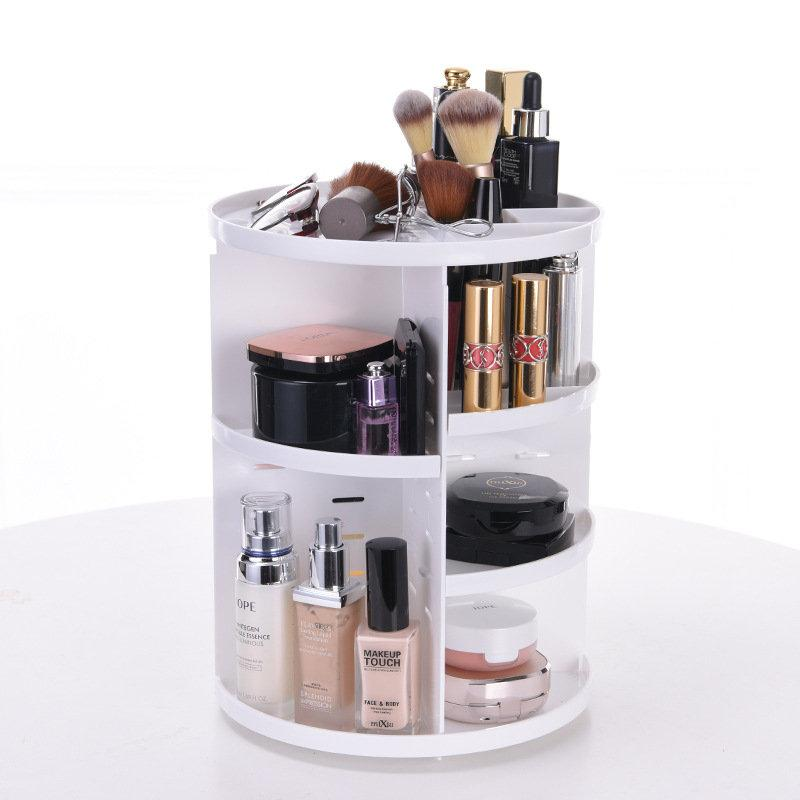 360-Degree Rotating Adjustable Multi-Function Makeup Organizer  Bedside Cupboard