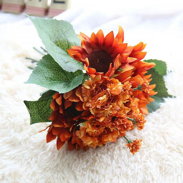9 Heads Sunflower Carnations Artificial Flowers Plants Bouquet Bridal Party Wedding Home Decor