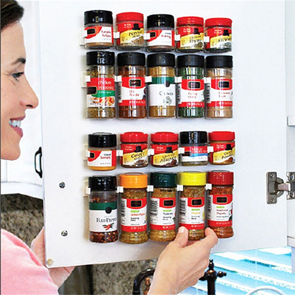 New Portable 5 Cabinet Spice Wall Rack Storage Plastic Kitchen Organizer Door Hooks
