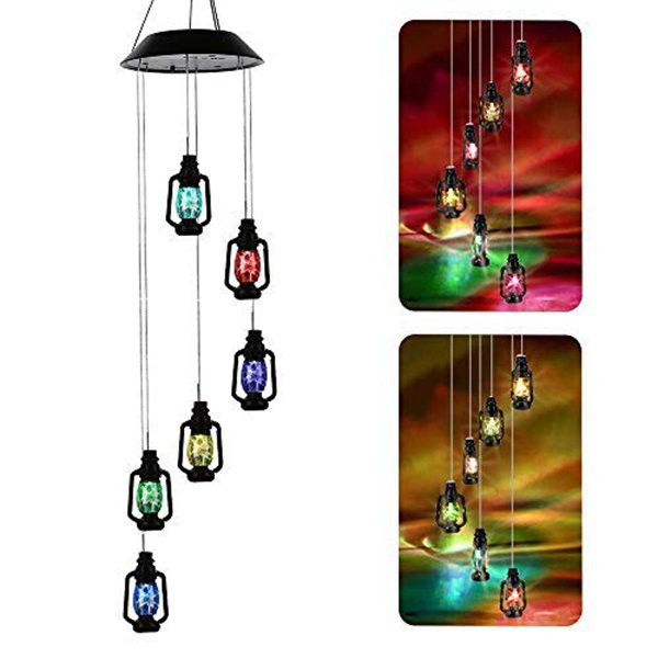 LED Solar Wind Chime, Changing Color Waterproof Light Wind Chimes for Home Party Night Garden Decoration