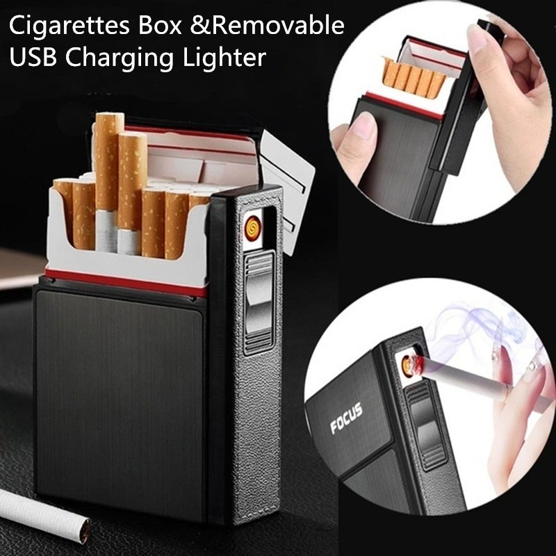 Portable Cigarette Box With Lighters Windproof USB Smoking Cigarettes Box