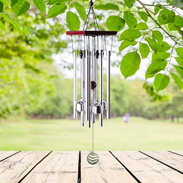 "Tuned 22"" Wood Wind Chimes with 8 Aluminum Tubes and 4 Bells Birthday Gift Idea or Decoration"