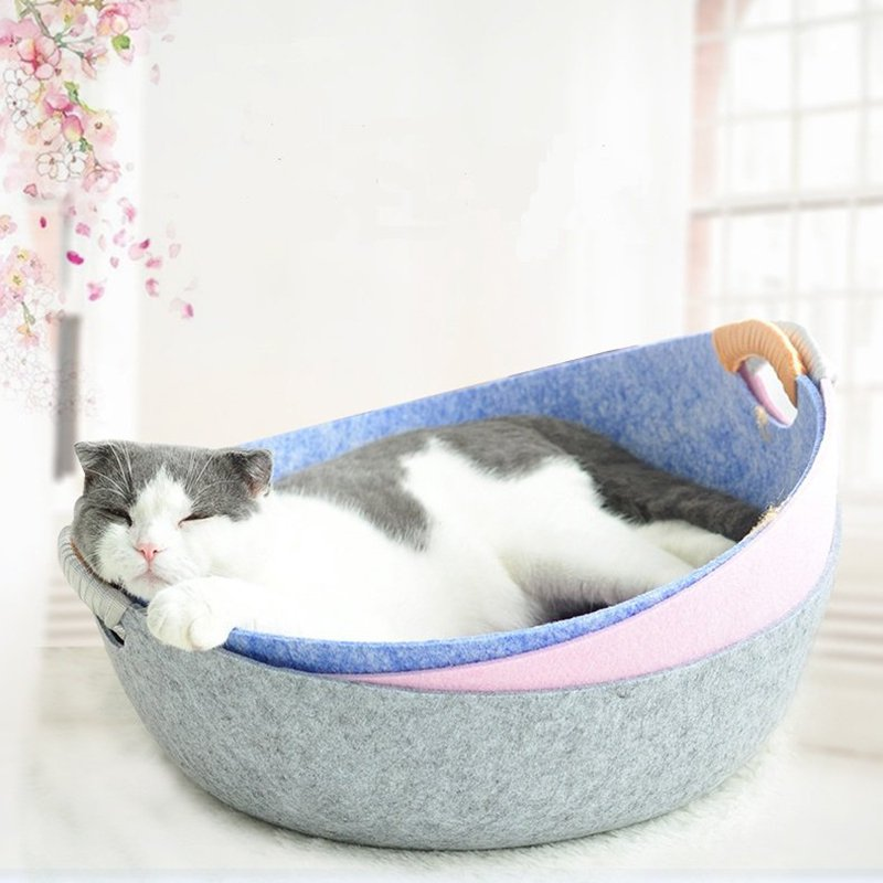 Pet Cat Felt Pan Bed Kennel Dog Kitten Portable Sleep Bed