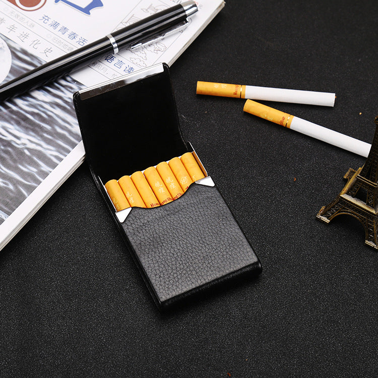 Smoker PU Leather Cigarettes Card Case Classical Metal Cigarette Box Smoking Tobacco Case