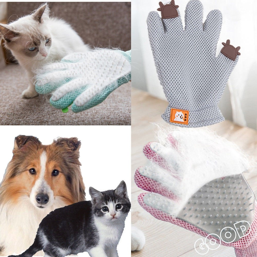 1Pcs Pet Dog Cat Grooming Gloves Brush Hair Remover Mitt Massage Deshedding Gloves