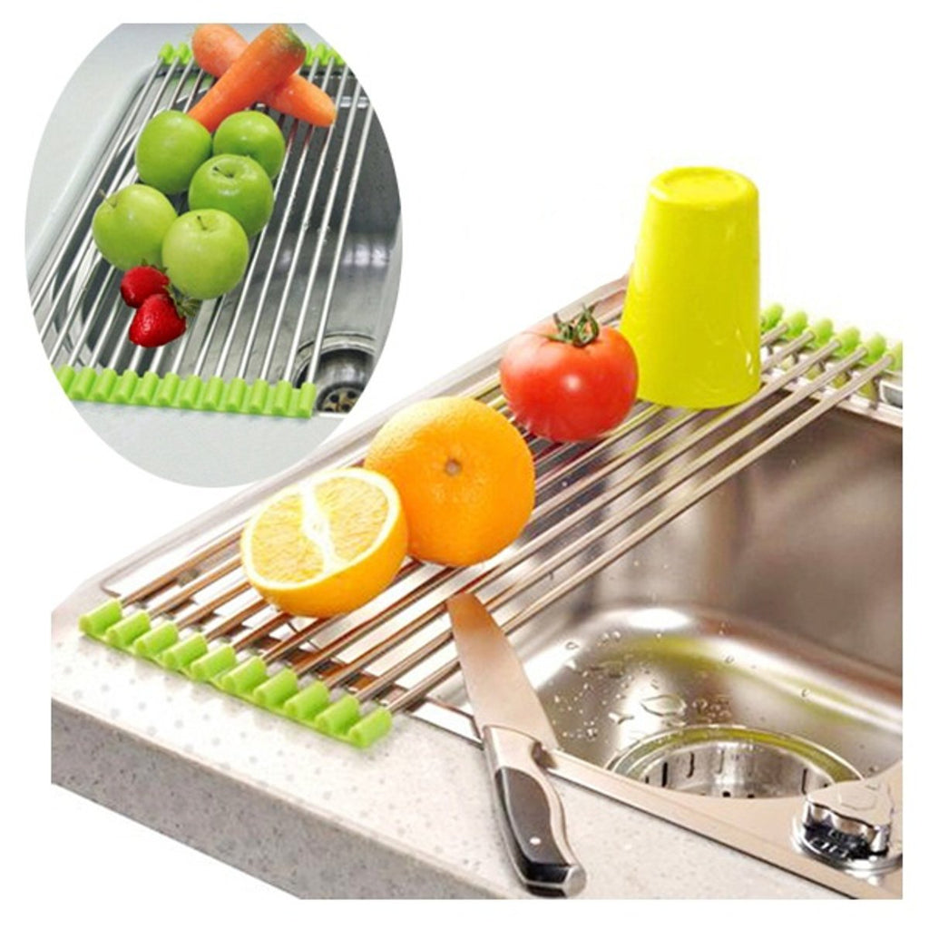 Stainless Steel Roll Draining Rack Fruit Vegetable Drain Shelf