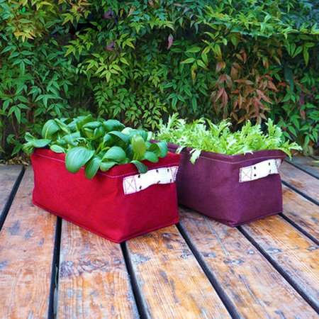 Collapsible Fabric Rectangular Plant Bag Garden Planter for Outdoor Plants 5 Gallons