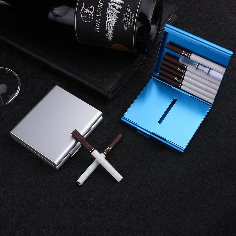 Aluminum Pocket Cigarette Case For 20 Cigarettes Holder Flip Open Storage Container
