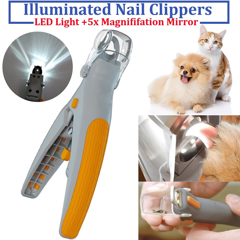 Magnification Mirror LED Illuminated Pet Nail Trimmer Cats Dogs Nail Clippers for Pet Care