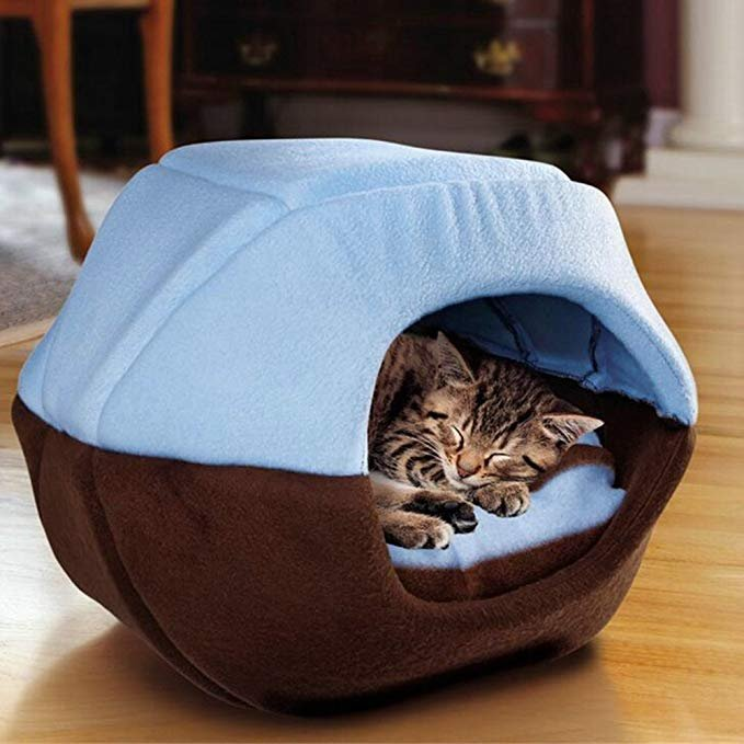 2 in 1 Cat Dog Cave Bed Washable Pet Bed Soft Pet House Tent