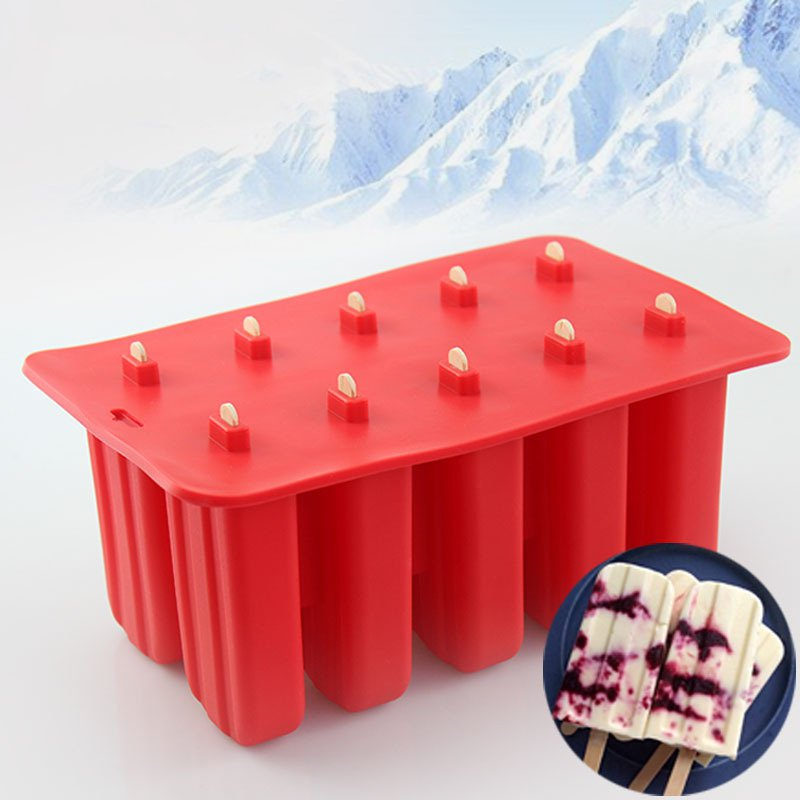 10 Grids Silicone Popsicle Mold Ice Cream Tray Ice Pop Mould With Cover