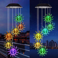 LED Solar Sunflower Wind Chime Color Changing Waterproof Hanging Light for Home Garden Decor