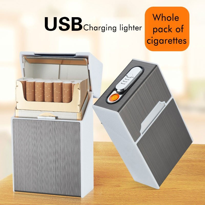 Automatic Cigarette Case Box with USB Rechargeable Windproof Lighters
