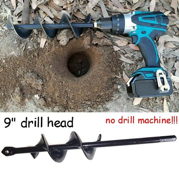 9in Drill Head For Digging Hole For Garden Planting Farm Agricultural