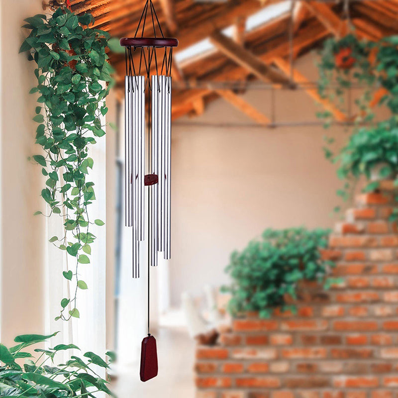 Aluminum Tubes Wind Chimes Wood Hanging Ornament Home Indoor Outdoor Garden Yard Balcony Decoration