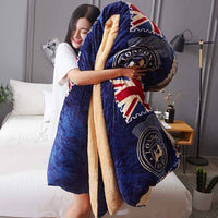 4Kg Thicken Shearling Blanket Winter Soft Warm Bed Quilt AB Sided Flannel Quilt Queen King Size