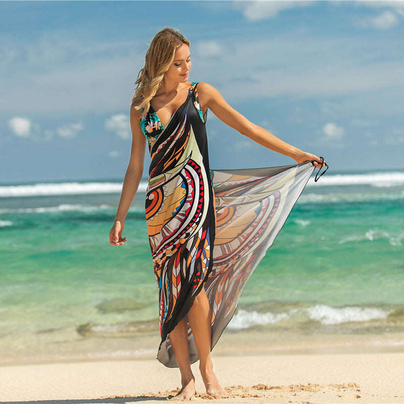 Animal Print Shawl Skirt Anti-Smashing Beach Skirt outer Lining crossover Irregular Dress