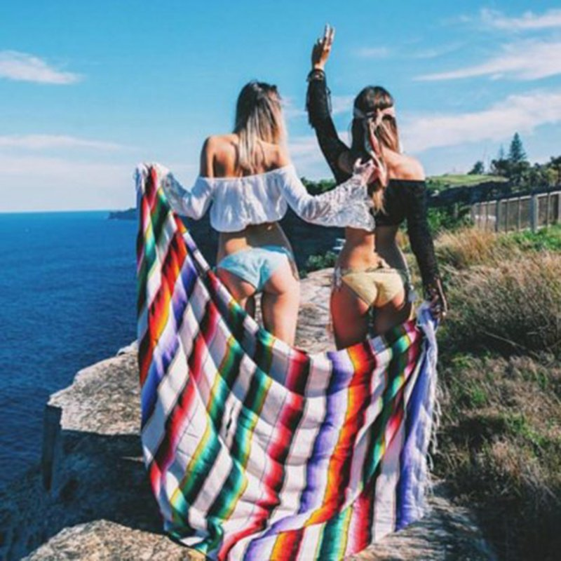 Ethnic Wind Blanket Beach Towel Mexican Style Picnic Blanket Handmade Striped Blanket