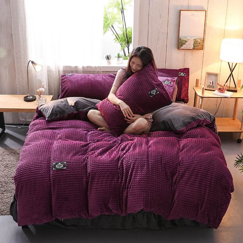 Crystal Velvet Coral Fleece Bedding Sets Solid Color Wavy Stripes Thickening Duvet Cover