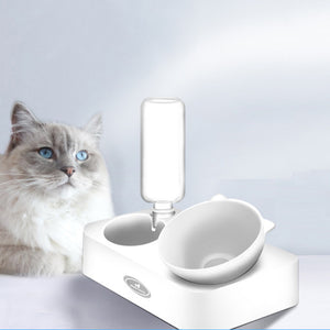 Cat Double Bowls with Raised Stand Pet Food Bowl for Cats Dogs