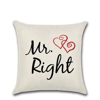 Mr/Mrs Lovers Proverbs Print Pillow Case  Car Home Sofa Bed Decor