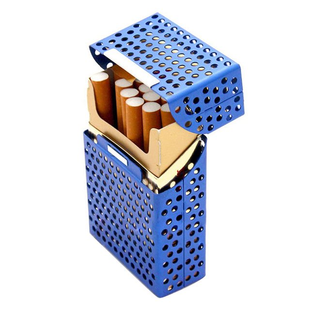Creative Cigarette Storage Box Holds 20pcs Metal Hollow Cigaret Case