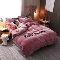 4Pcs Double-sided Flannel Coral Fleece Bedding Set Full Queen Size Duvet Quilt Cover Fitted Sheet