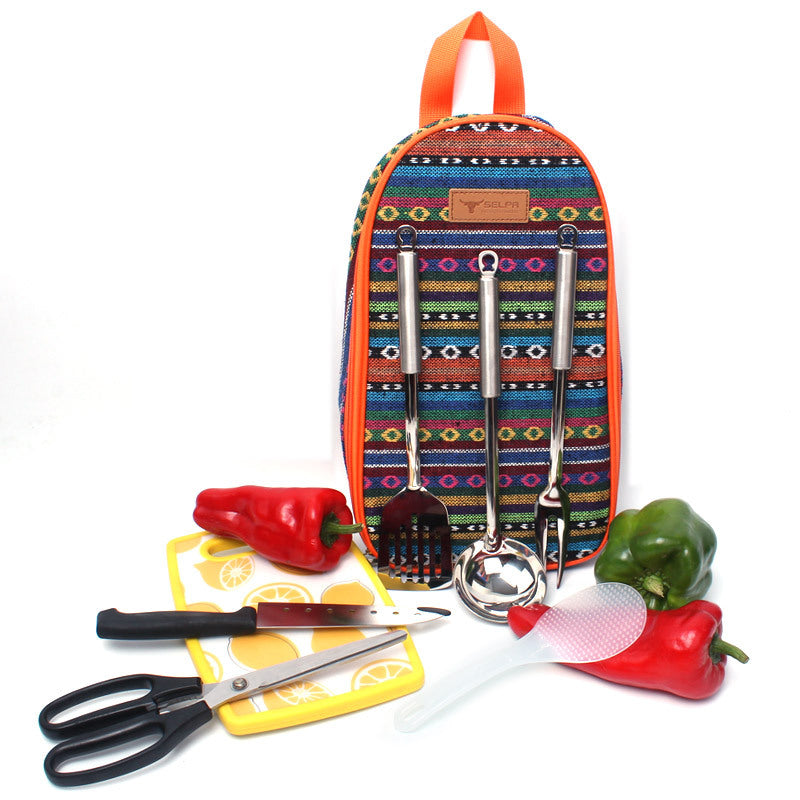7PCS Outdoor Cookware Set Picnic Kitchenware Portable Stainless Steel Handbag Picnic Bag Knife Fork