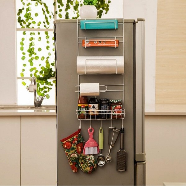 Over Door Freezer Storage Rack Kitchen Pantry Spice Organizers Shelf Space Saver Baskets