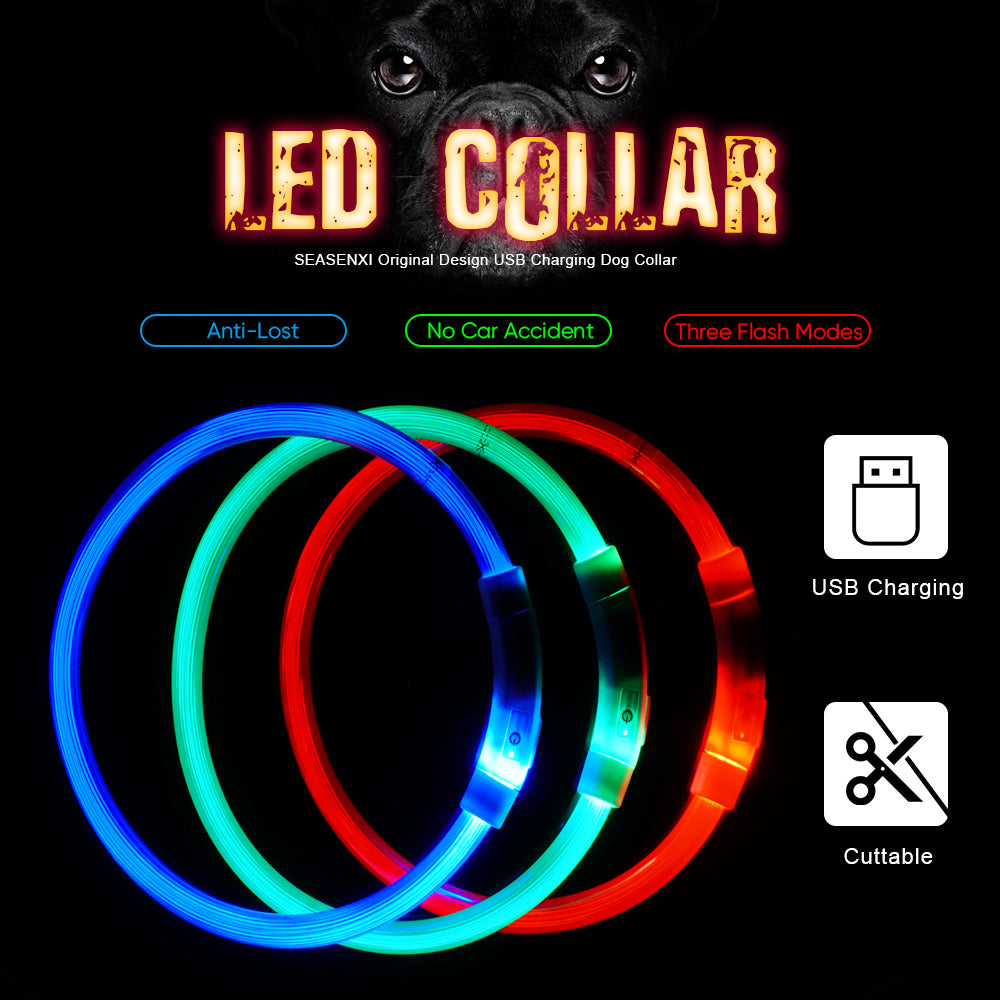 LED Dog Collar USB Rechargeable Glowing Pet Dog Collar for Night Safety Fashion Light Up Collar