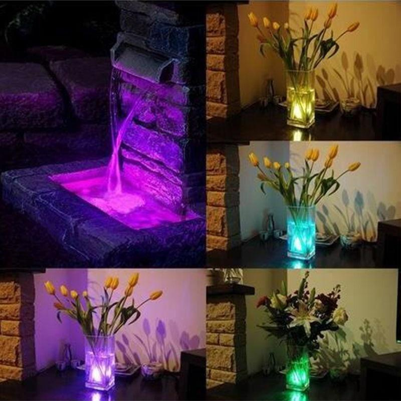 Submersible Rgb Lamps Remote Control Colorful Waterproof Lights With Vase Base For Christmas Party Decoration Diving