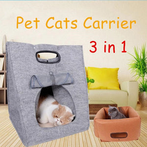 Newly Pet Cats Carrier Folding Portable Wool Felt Cave Bed Travel Bag for Cats Puppy Kitten