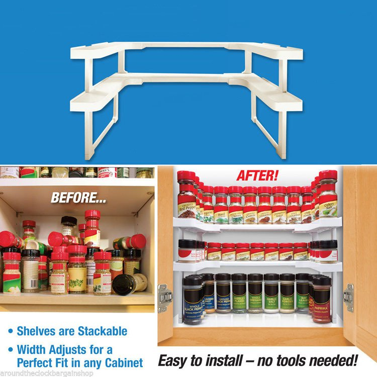 2 Layers Adjustable Spicy Shelf Stackable Shelving Spice Rack Kitchen Storage Rack Organizer Holder