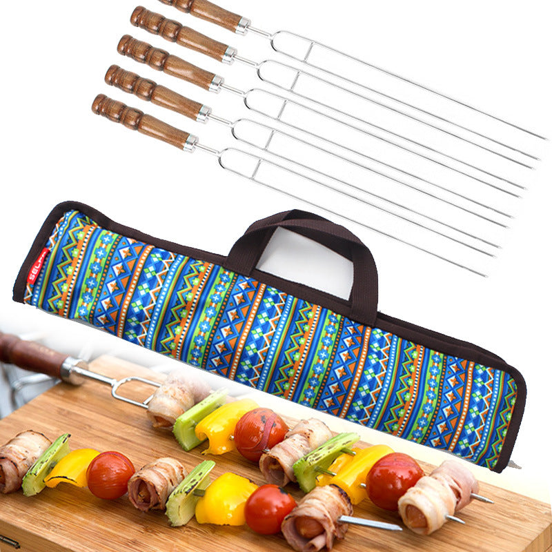 5 Pieces Barbecue Tools Set Stainless Steel Meat Grill Fork Outdoor Cooking