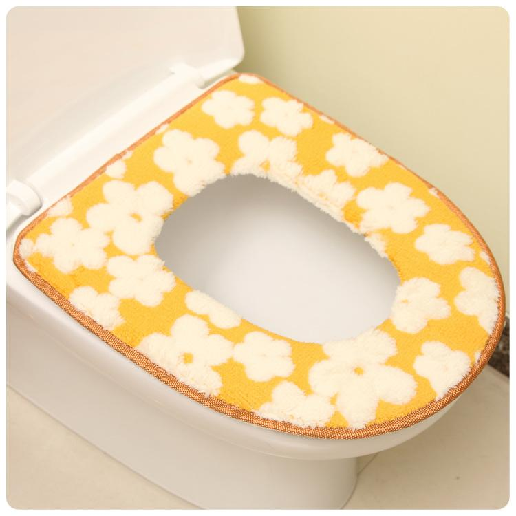 Bathroom Soft Thicker Warmer Flannel Toilet Seat Cover Pads Comfortable Potty Seats